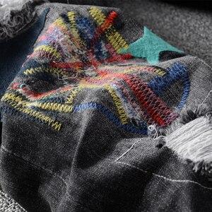 Image 5 - אמריקאי Streetwear אופנה גברים ג ינס אלסטי Slim Fit Ripped ג ינס מכנסי עיפרון Homme תיקוני מעצב למתוח היפ הופ מכנסיים