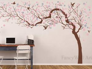 Вишневое розовое цветущее дерево, большая Цветочная наклейка на дерево для украшения детской комнаты, Настенная Наклейка на дерево