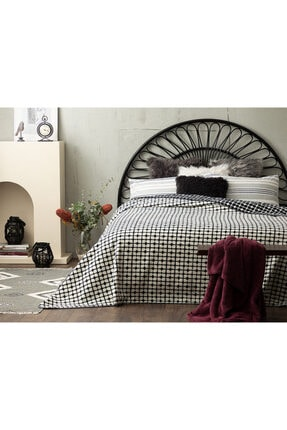 English Home Cotton Double Bed Blanket 200x220 Cm White-Navy Blue 10029694-1