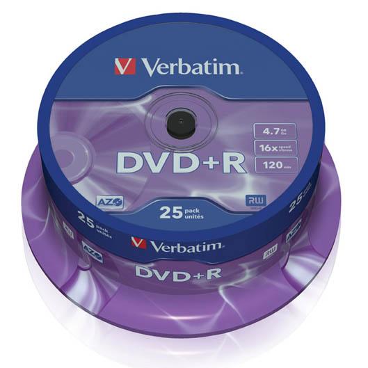 DVD + R 16x Coil 25x Verbatim 4.7 GB P/n: 43500