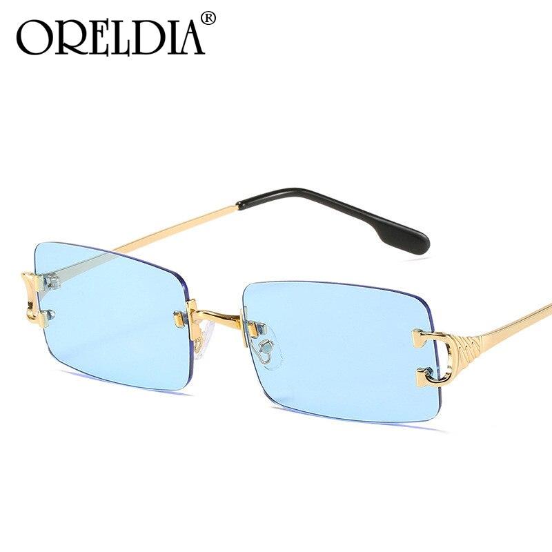 Gafas De Sol Retro sin montura para hombre y mujer, anteojos De Sol unisex De marca De diseñador, De forma Rectangular, con UV400