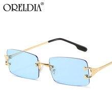 Gafas De Sol sin montura para hombre y mujer, lentes De Sol Retro De diseñador De marca, rectangulares, UV400