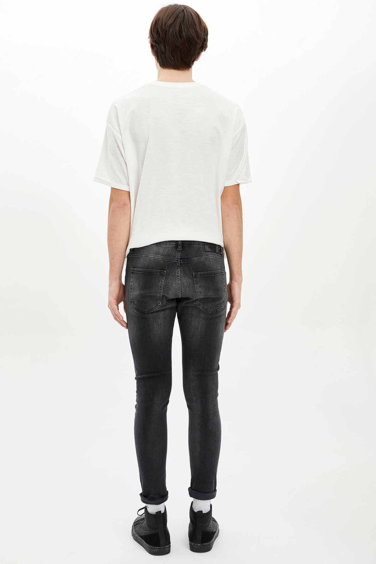 DeFacto męska wiosna na co dzień dżinsy męskie czarne spodnie Slim Denim spodnie męskie sprane dżinsy Trousers-N5013AZ20SP