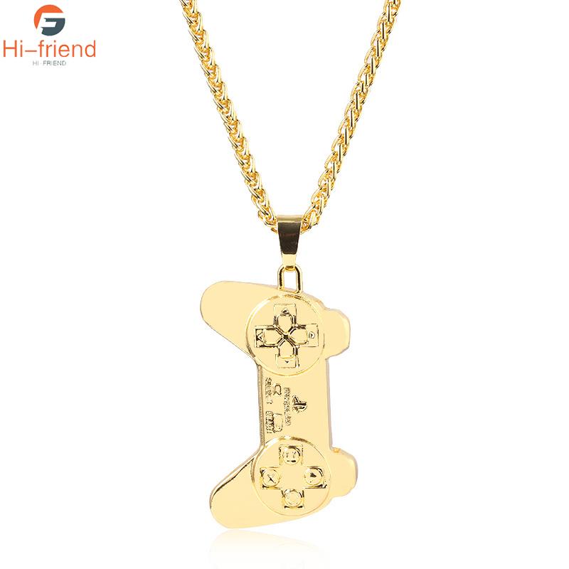 New Fashion Hip Hop Game Controller Handle Necklace INS Pendant Women Men Gold Retro Fashion Jewelry Chain Necklace image