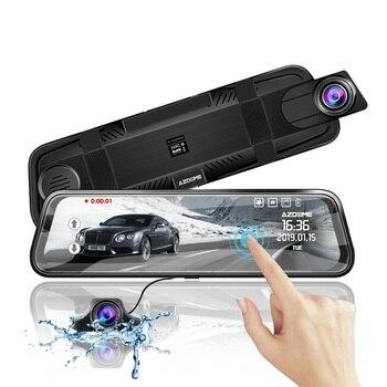 "AZDOME PG02 10"" Mirror Touch Dash Cam Streaming Media ADAS Dual Lens Reversing Camera Night Vision 1080P Car Recorder for Uber"