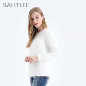 Image 3 - BAHTLEE Women Angora Pullovers Sweater Pure Color  Autumn Winter Wool Knitted Jumper Long Sleeves O Neck Suit Style Basic Style