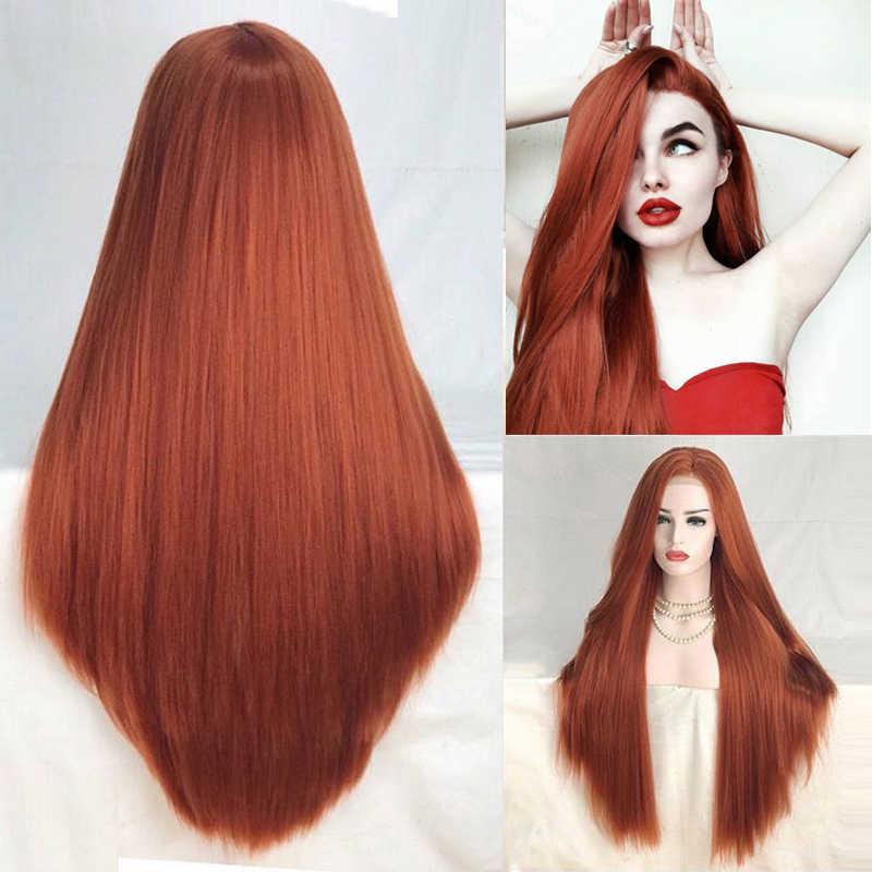 Pelucas de pelo largo liso rojo cobrizo de carisma, peluca sintética con malla frontal, pelucas de pelo de alta temperatura a la moda para mujeres, parte media