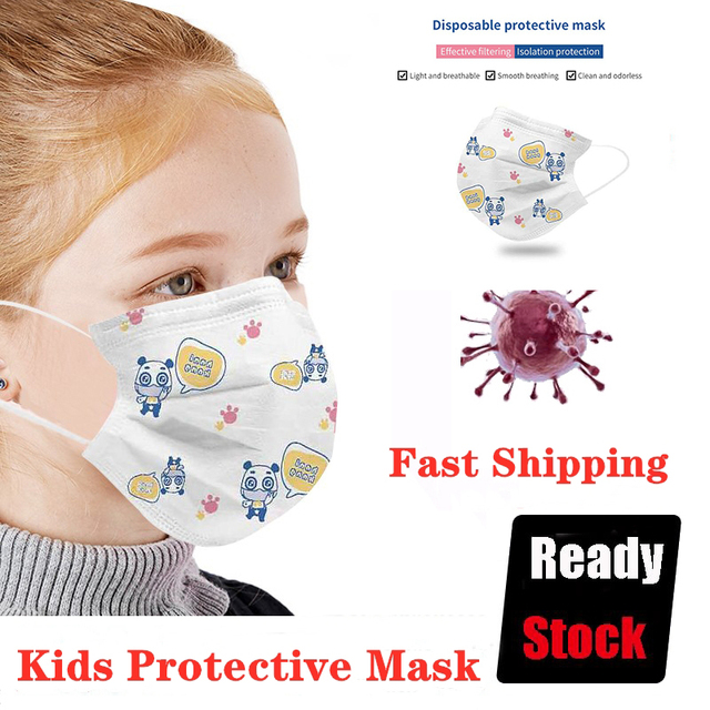 20Pcs Kids Mask Disposable Mouth Face Mask Cartoon Dustproof Non-Woven Fabric Protective Mask Anti-fog Anti-Flu 3 Layers Masks