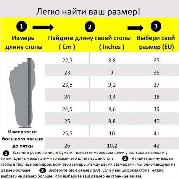 B - Shoe Size Chart 37x23.5 Cm RUSSIAN 22.5