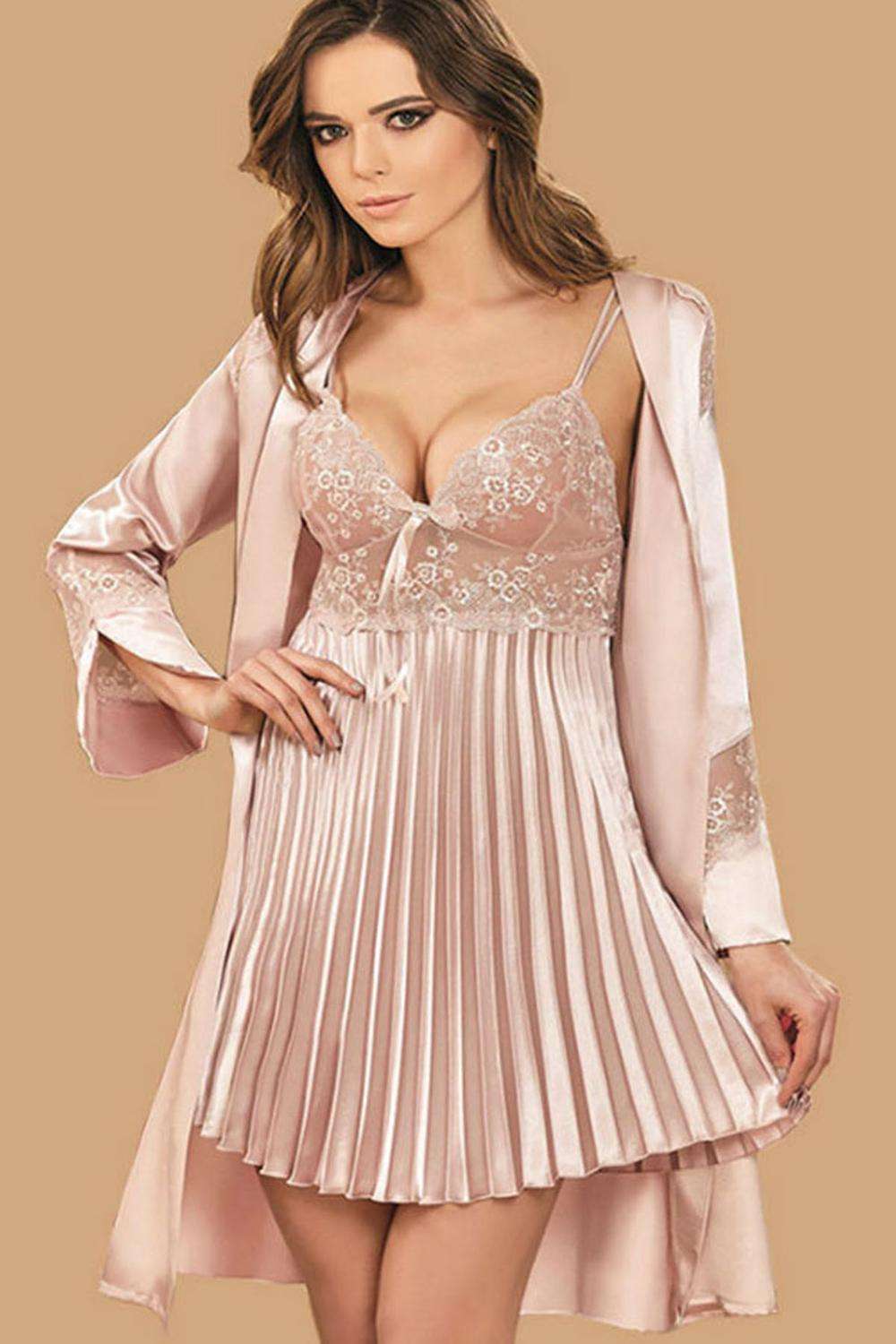 Nurteks Silk Satin Ruched Kimono Nightgown Home Sexy Comfortable Worn Skirts Pleated 2 Piece Dressing Gown Suit