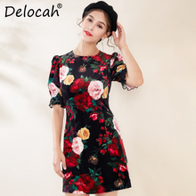 Delocah 2019 Autumn Winter New Women Dress Runway Fashion Designer Flare Sleeve Flower Printed Elegant Slim Velvet Ladys Dresses