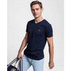 Мужская облегающая футболка GANT темно-синего цвета с v-образным вырезом-234104,433