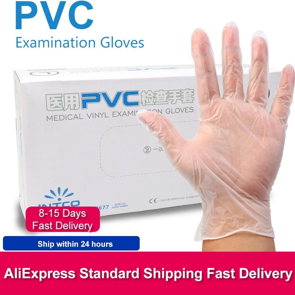 100pcs/lot Disposable PVC Gloves Food Grade Waterproof Allergy Inspection Protective Gloves Transparent Touch Protection