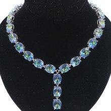 34x9mm Big Heavy 61.3g Fire Rainbow Mystic Topaz Woman's Gift Silver Necklace 20-20.5inch