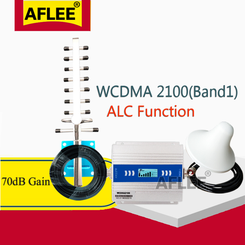 Upgrade 3G Booster!!WCDMA 2100 3G Cellular Amplifier 2100Mhz ALC GSM Repeater 2G 3G 4G Mobile Signal Booster 70dB UMTS WCDMA Set