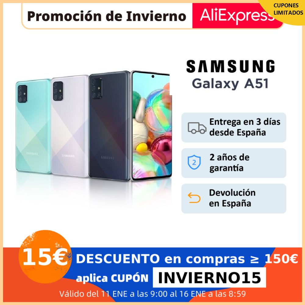 "Samsung Galaxy A51, Smartphone 4+128GB, pantalla 6.5"" Infinity O AMOLED, 4 cámaras (48+23+5+5MP), selfie 32MP, gran batería|Teléfonos móviles| - AliExpress"