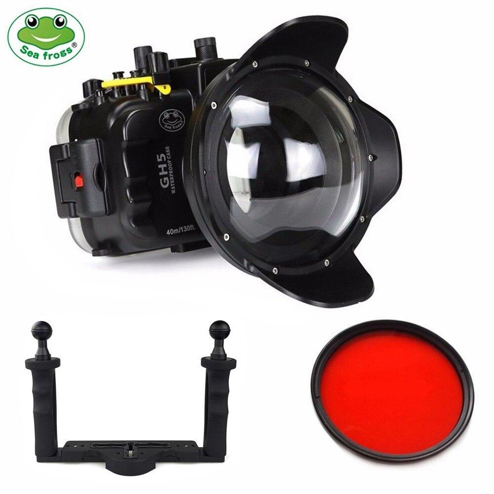 Kit de boîtier de caméra sous-marine navigants 40m pour Panasonic GH5 S GH5S avec Port dôme et plateau à deux mains