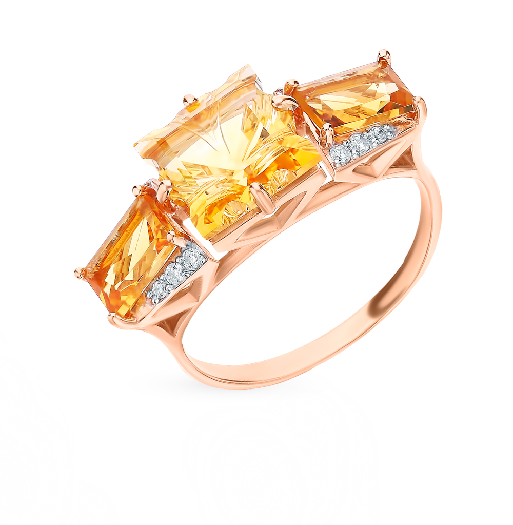 Gold Ring With Cubic Zirconia And Citrine Sunlight Sample 585