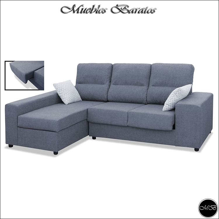 Sofa Chaise Longue, 3 Seats, Color Grey, Ref-01