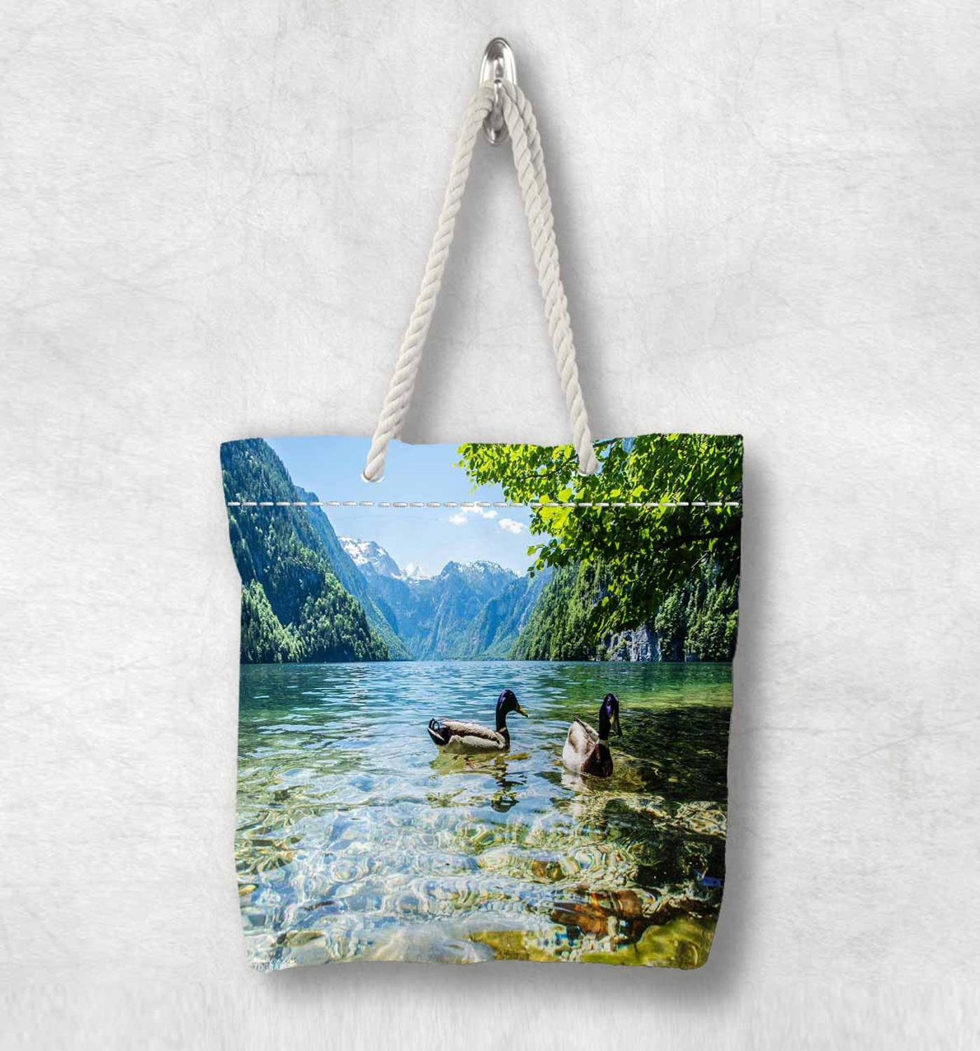 Else Blue Lake On Ducks Green Trees New Fashion White Rope Handle Canvas Bag Cotton Canvas Zippered Tote Bag Shoulder Bag