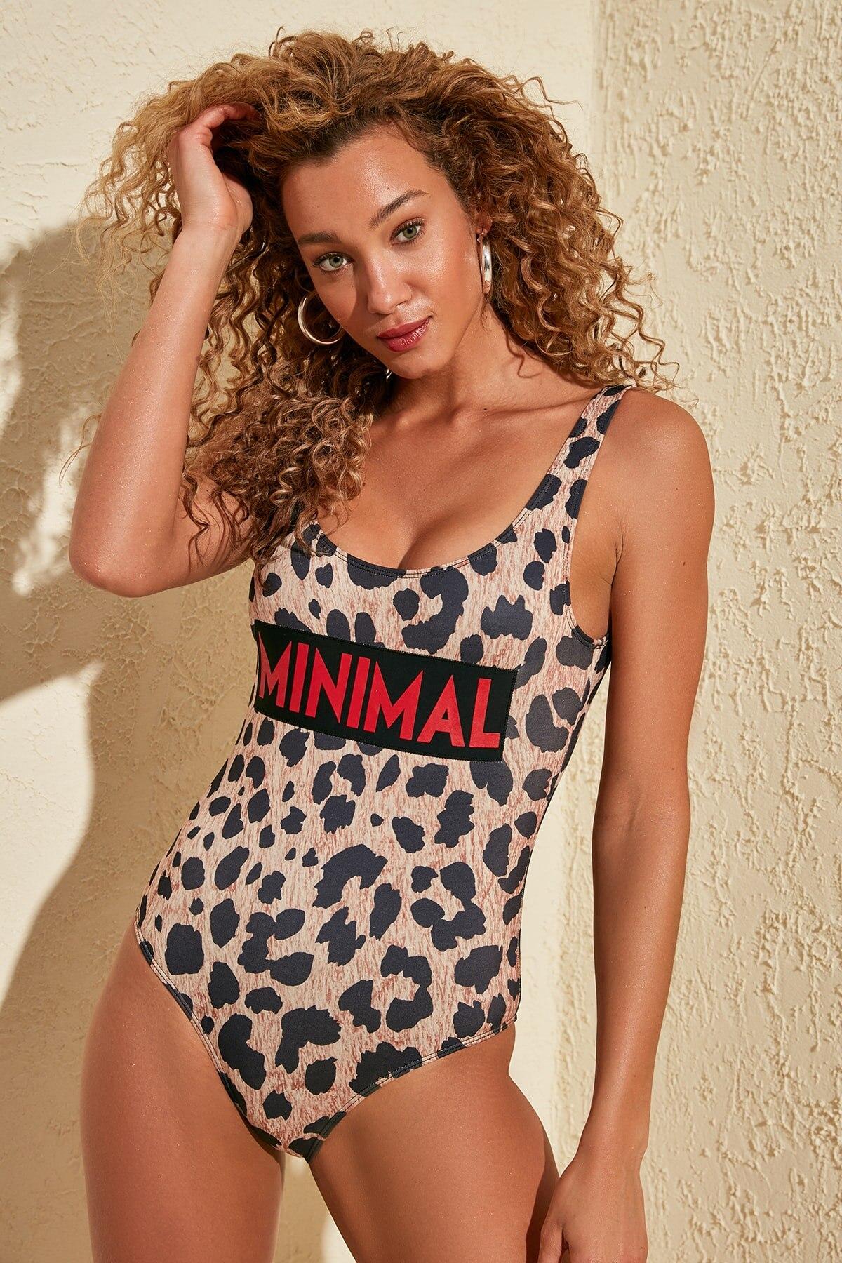 Trendyol Leopard Print The Tagline Swimwear TBESS20MA0328