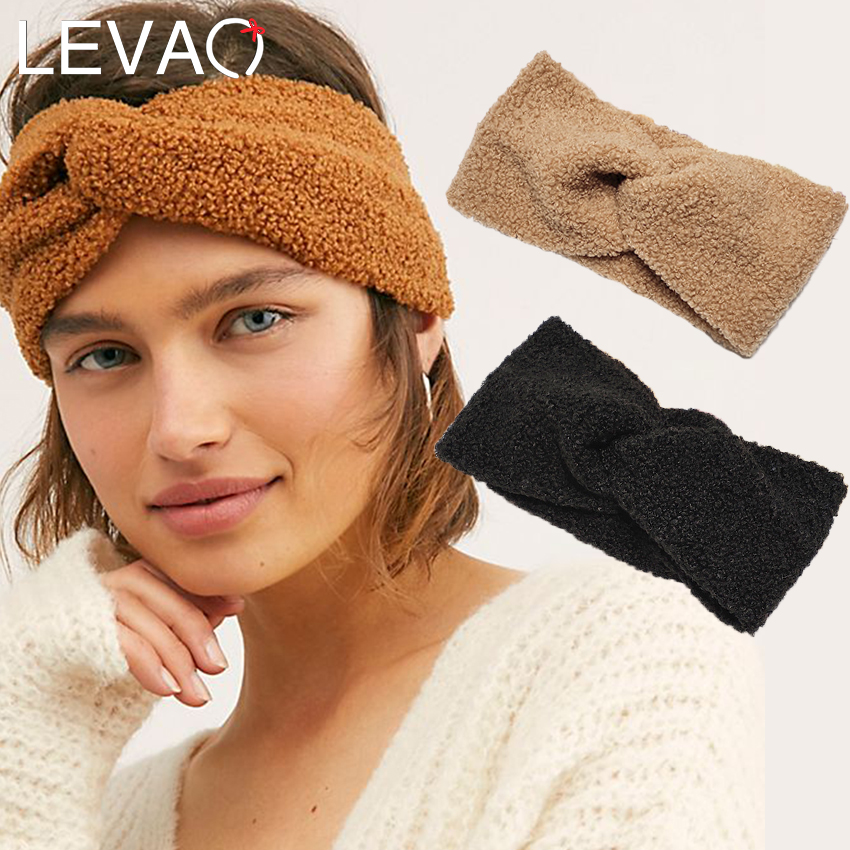 Levao Cashmere Turban Headband For Women Winter Warm Cross Knot Teddy Elastic Hair Band Hairbands Wide Headwrap Hair Accessories