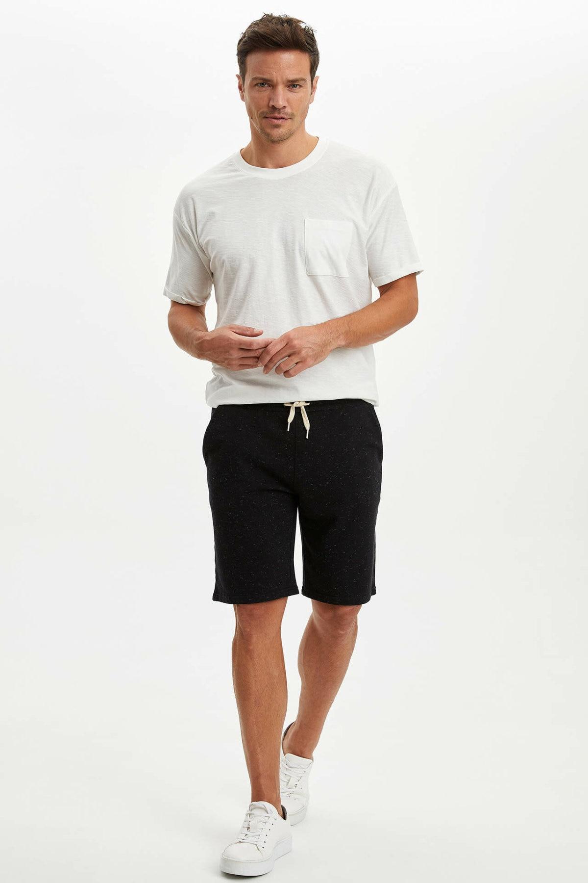 DeFacto Man Short Bottoms Men's Spring Casual Black Shorts Men's Lace-up Loose Shorts Bottom-N0639AZ20SP