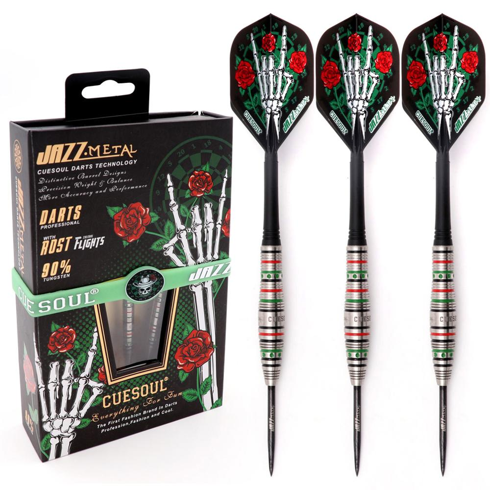 CUESOUL JAZZ-METAL 21/23/25g Steel Tip 90% Tungsten Dart Set With Integrated ROST Dart Flights And Wristband