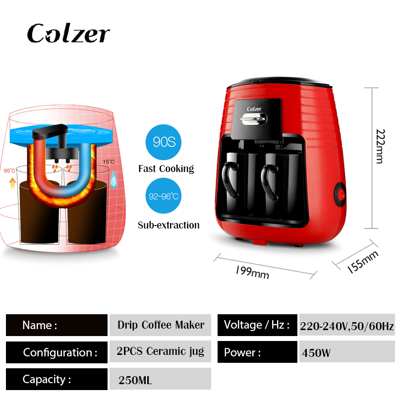 Colzer Coffee Machine With 2pcs Cups Concentrated American Double Cup Espresso Drip Machine For Coffee Maker Machine For Home 2