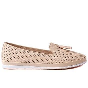 Estile-Genuine Leather Beige Color Tassels Women Shoes