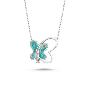 Angemiel 925 Silver Zircon Stone Butterfly Pattern Necklace-Rose Gold Plated