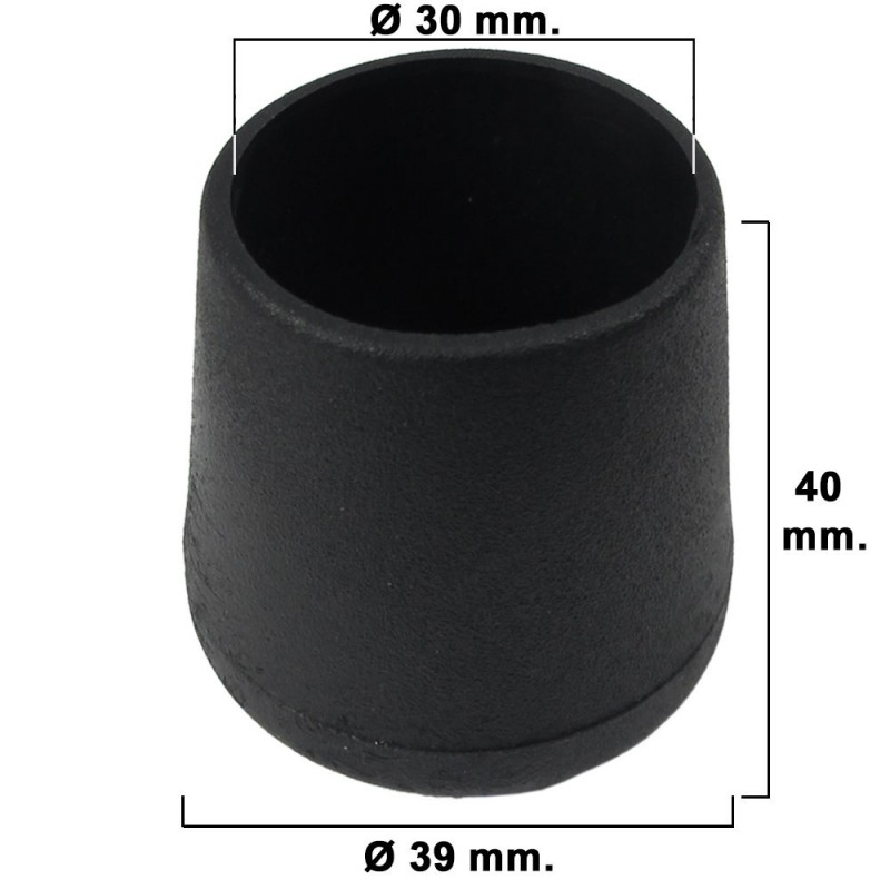 Cone Tapered Black 30mm. Blister 2 Pcs.