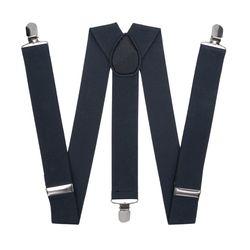Подтяжки для брюк широкие (3.5 см, 3 клипсы, Темно-серый) 54866