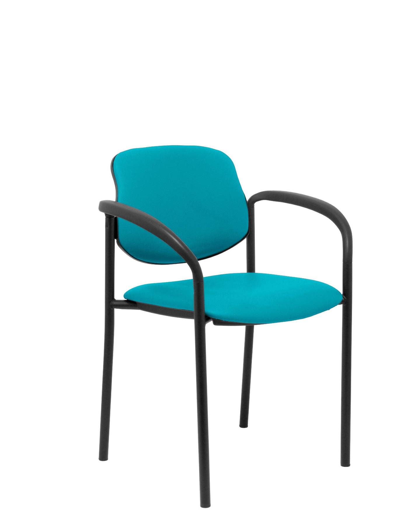 Visitor Chair 4's Topsy, With Arms And Estructrua Negro-up Seat And Backstop Upholstered In Tissue Similpiel Green PIQU