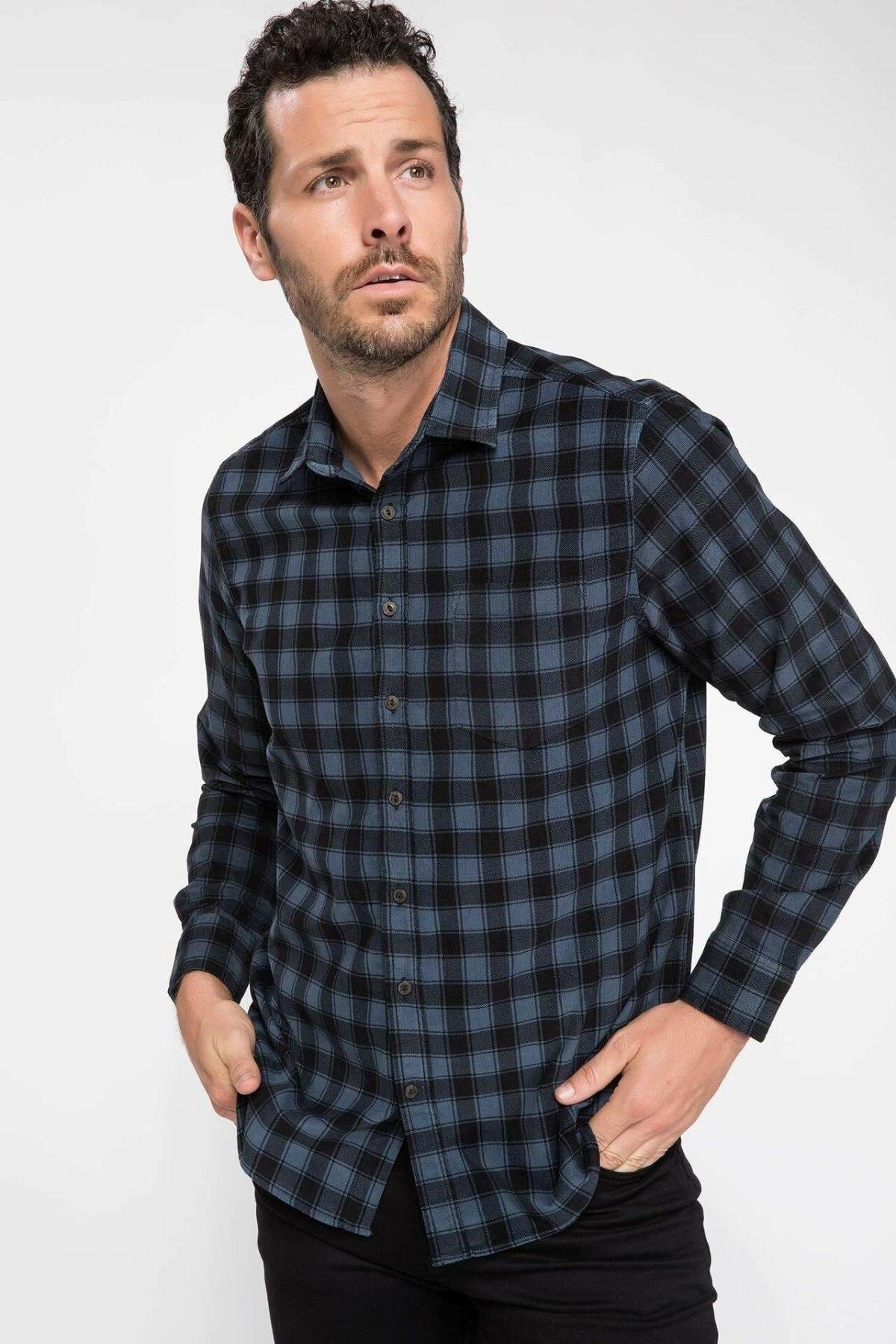 DeFacto Autumn Men Plaid Cotton Shirt Black Blue Grid Long Sleeve Blouse Loose Casual Male Shirt-J1155AZ18WN