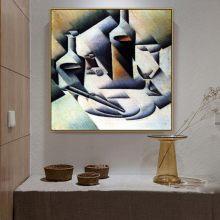 Peinture sur toile avec bouteille et couteau, grand maître espagnol, grand maître, Gris, affiche imprimée, décoration murale