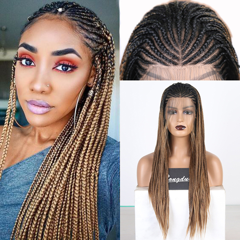 RONGDUOYI Long Ombre Brown Synthetic Lace Front Wigs For Women Heat Resistant Cosplay Lace Wig Two Tone Braided Box Braids Wigs
