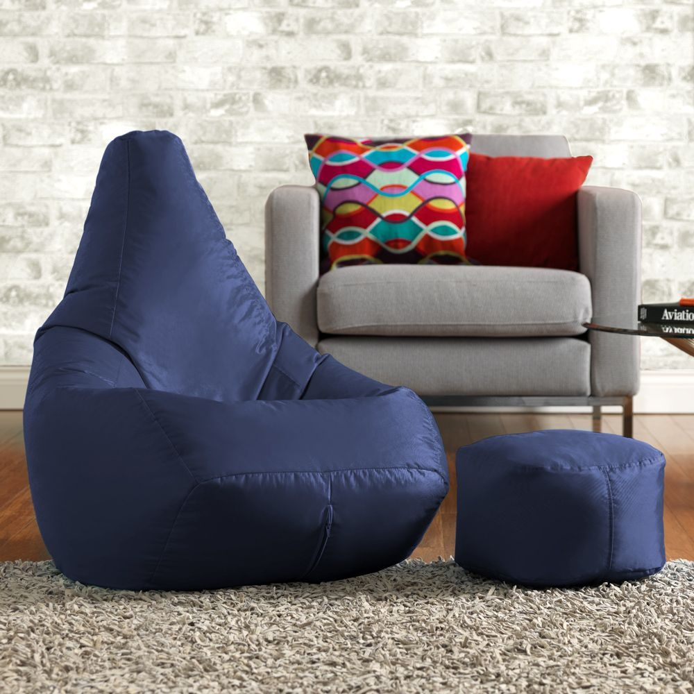 Ink Craft Leatherette  Blue Combo Retro Classic Bean Bag Chair Cover Only