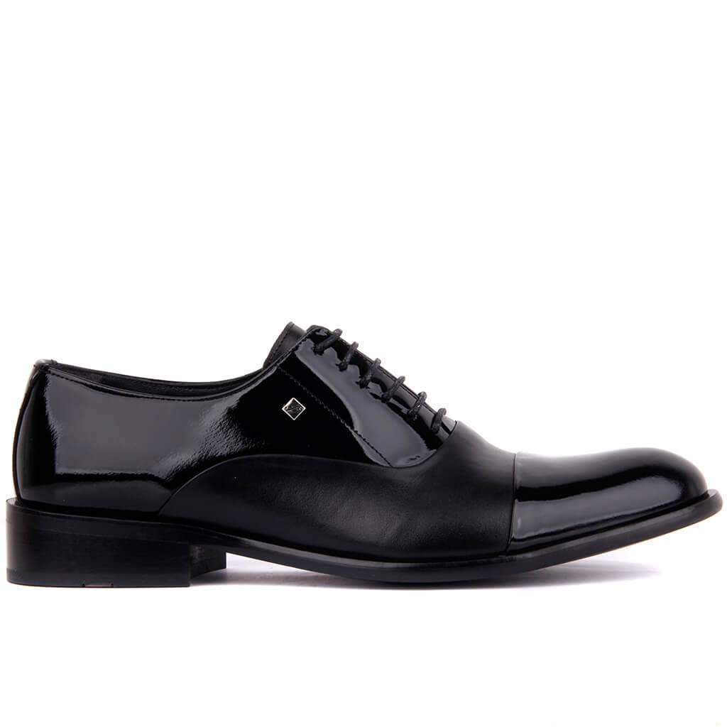 Fosco-Black Japanned Leather Leather Men 'S Classic Shoes