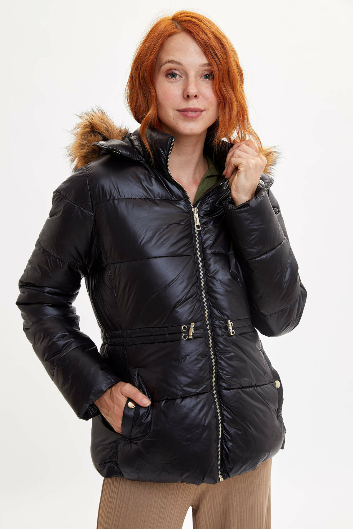 DeFacto New Woman Winter Solid Color Coats Hooded Windproof Parka Thick Warm Coats & Jackets For Female Mont-K9080AZ19WN