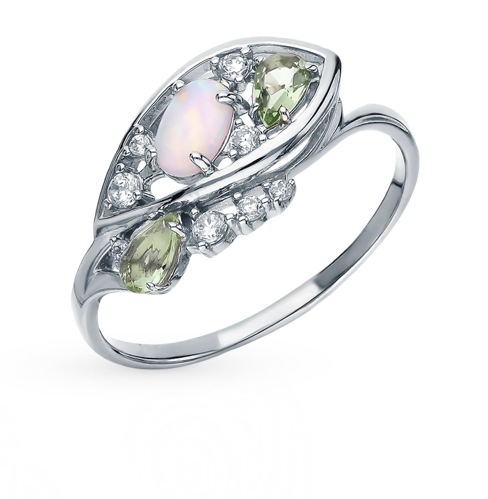 Silver Ring With Cubic Zirconia, Opals And празиолитами Sunlight Sample 925