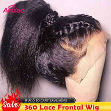 360 HD Transparent Lace Frontal Human Hair Wigs Kinky Straight 13X6 Lace Front Wig Yaki Nature Colored Full Women 30 Inches