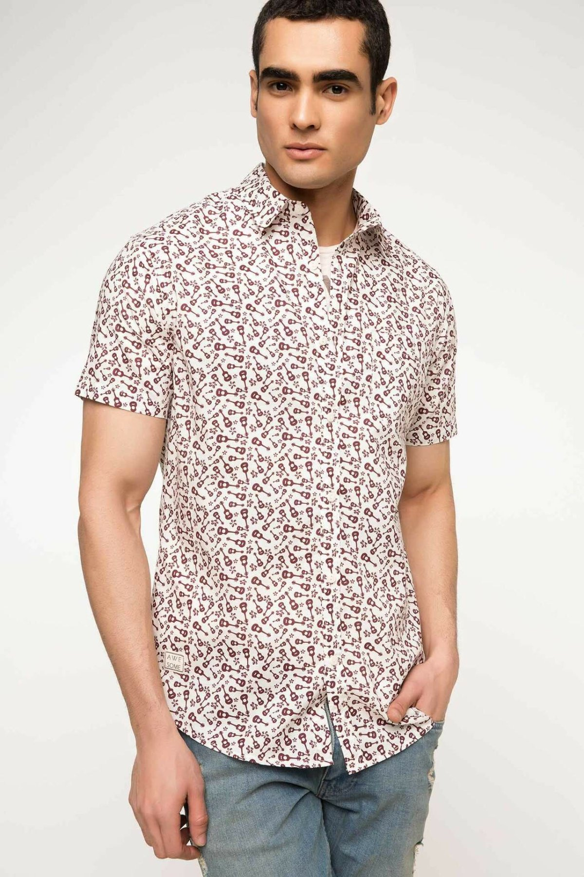 DeFacto Summer Fashion Man Print Pattern Short Sleeve Shirt Male Casual Blousers Men's Leisure Loose Comfort Shirts - G7765AZ17H