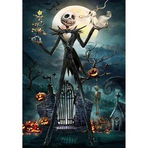 Halloween 5D TỰ LÀM Tranh Gắn Đá Full Khoan Tròn Nhựa Hạt Hình Đầu Lâu của Tinh Thể Kim Cương, Hàng Thủ Công cho Trang Trí Nhà