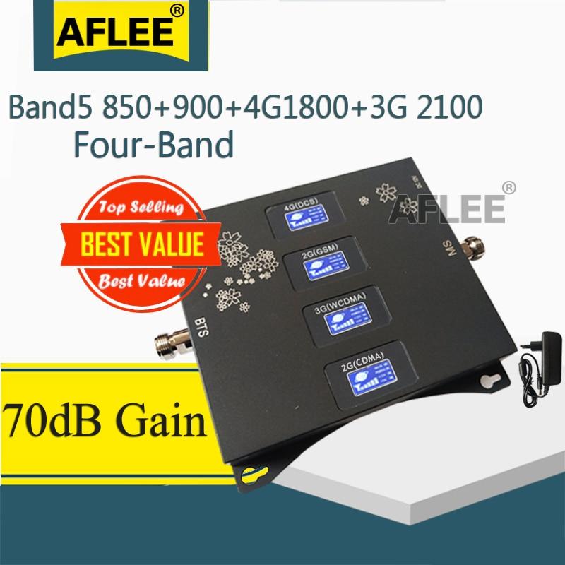 1PCS CDMA 850 900 1800 2100 Mhz Four-Band Mobile Signal Booster GSM Repeater 2G 3G 4G GSM Cellular Amplifier CDMA DCS WCDMA Set