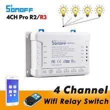 Sonoff 4CH Pro R2 สมาร์ทWiFiสวิทช์ 4 GANGสวิตช์ไฟ 433MHz RFรีโมทWiFiรีเลย์Ewelink APP alexa Google Home