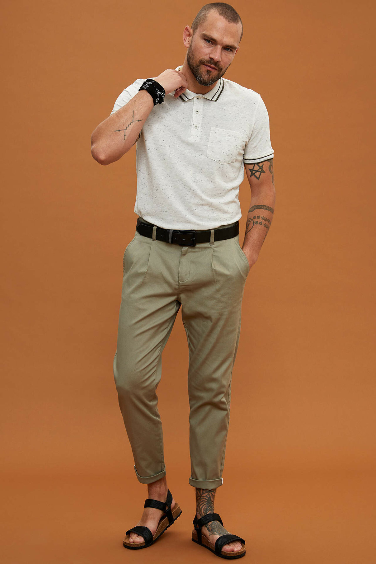 DeFacto Man Summer Cargo Long Pants Men Casual Solid Color Bottoms Male Fit Slim Bottoms Men Mid-waist Trousers-L5087AZ19SM