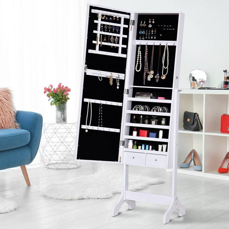 Jeweler Stand with Mirror Cabinet for Jewelry <font><b>16</b></font> <font><b>LED</b></font> <font><b>Lights</b></font> Recliner Jewel Keeper Rings Earrings Necklaces Cerra image