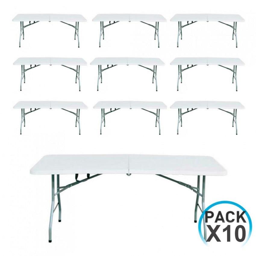 MegaPack 10 Tables 180cm Rectangular Folding White Caterers GH91