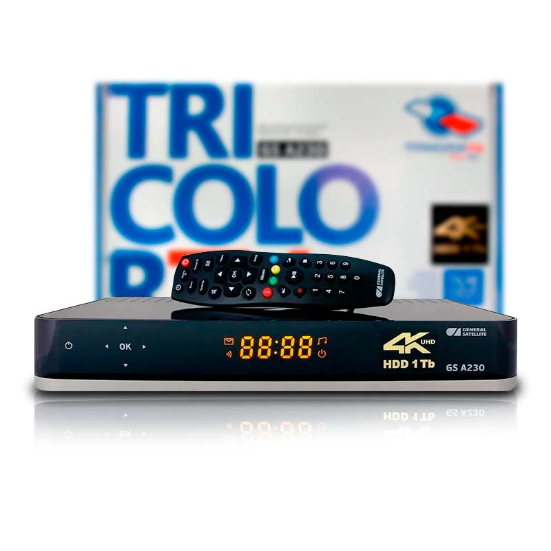 Receiver Satellite Tricolor GS A230. 4 K + HDD 1 TB. Двухтюнерный Satellite Receiver 4 K + IP Server. Fast Shipping.